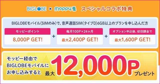 やはりポイントサイトは無視できない。音声年間7千円。…月間じゃないよ?[moppy x BIGLOBEモバイル]
